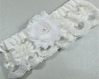 White lace bridal garter with flower trim,  white lace and shabby rose bridal garter