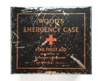 vintage Johnson & Johnson Tin, Woods Emergency Case, first aid tin, made in the USA, old vintage tin, advertising tin, paper insert