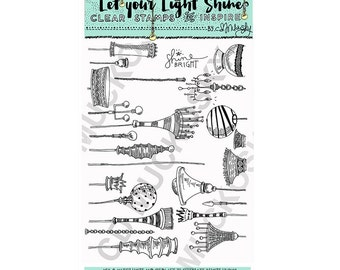 Let Your Light Shine 6×8 Clear Stamps by CD Muckosky