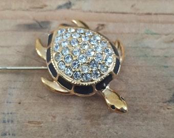 Rhinestone Turtle Hat Pin