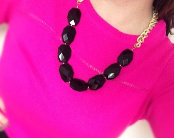 Black and Gold Statement Necklace Single Strand Faceted Chunky Beads Gold Textured Chain