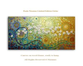 Daisies - Abstract Art Giclee on canvas home interior Decor Paula Nizamas Ready to hang