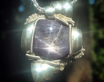 Indian star sapphire wire wrapped pendant | .925 sterling silver | chain included | handmade by Jon Hixson