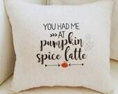Pumpkin Spice Latte Fall Pillow, Harvest Decor, Thanksgiving, PSL Lover, Housewarming Gift, Fall Decor, Throw Pillow, Cushion