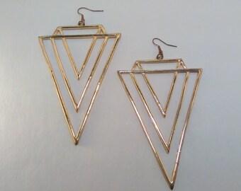 Large Geometric Triangle Earrings