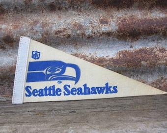 Vintage Seattle Seahawks Football Team 1970s Era NFL 11 Inch Mini Felt Pennant Banner Flag vtg Vintage Christmas Gift Stocking Stuffer
