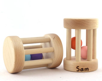 Toy Rattle - Wooden Baby Toy - Custom Colors