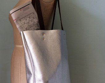 Leather tote bag, silver leather book bag, simple leather tote by Ginger and Brown