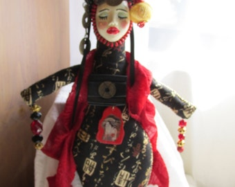 Asian Earth Goddess Spirit Art Doll Prayer Altar Doll Pagan Wiccan Cloth Doll Goddess Art