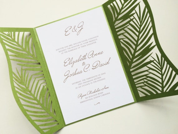 Laser Cut Palm Leaf Tree Wedding Invitation Gatefold Style