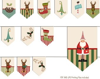 Santa and Reindeer Bunting, Printable Christmas decorations, Instant Download