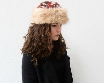 knitted hat with faux fur
