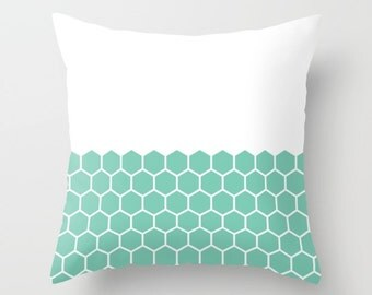 36 colours,  Lucite Green, Hexagon Honeycomb Half Pattern Decorative Pillow, Geometric pillow, Faux Down Insert, Indoor or Outdoor cover