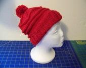 Hand Knit Hat / Beanie with Pom-pom - Red - Machine washable