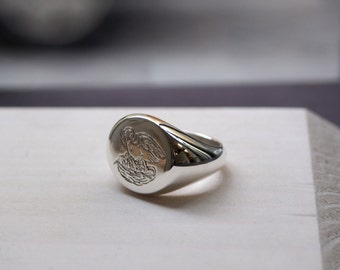 Custom Designed, Hand Engraved, Heavy Weight Sterling Silver Signet Ring