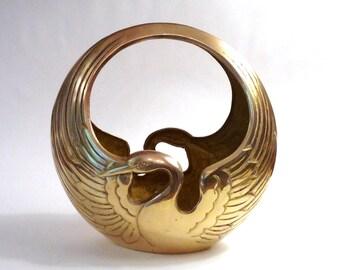 Vintage Brass Swan Basket, Planter