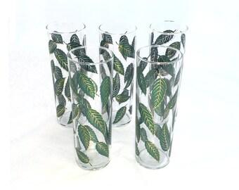 Vintage Leaf Cocktail Glasses, Mojito, Tom Collins, Green and Gold Leaf Motif, Set of 5