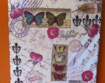 Decoupaged french style rustic picture home decoration Butterfly