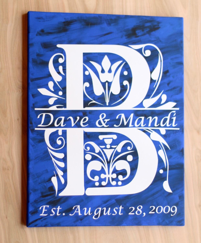 Wedding Gift Canvas Art : Monogram canvas Art Canvas Wedding Gift Monogram