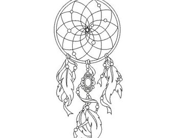 Embroidery design machine Dreamcatcher feather instant download
