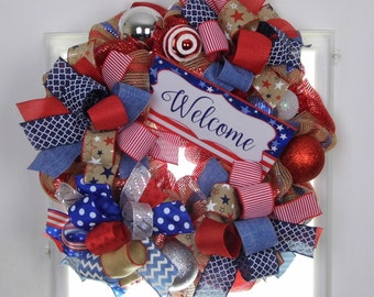 Patriotic Wreath, Welcome Wreath, 4th of July Wreath, USA, Red White Blue, Stars, Election Year 2016