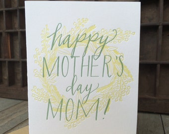 Happy Mother's Day Mom Letterpress Wreath Card
