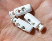 White Plastic Barrel type Toggle Cord Lock Stopper for DIY Accessory 20pc