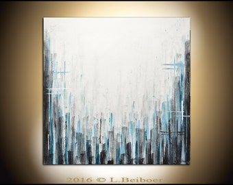 Original abstract art painting contemporary chalky white blue acrylic modern abstract fine art by L.Beiboer
