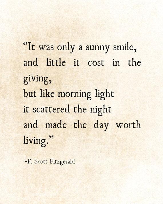 F Scott Fitzgerald Love Quotes: Sunny Smile F. Scott Fitzgerald Quote Love Romantic Quote