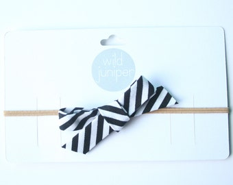 Baby Bow Headband - Baby Bow Headband in Black and White Stripes