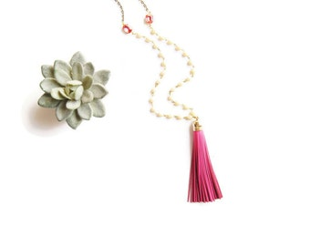Hot Pink Leather Tassel Necklace