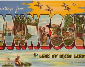 Linen Postcard, Greetings from Minnesota, Land of 10,000 Lakes, Large Letter