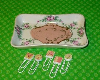 Vintage Amoges SHABBY Pink Rose SOAP DISH Trinket Tray w/ 6 Chic Paper Clips Office Supplies Desk