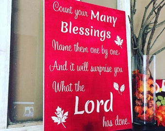 Fall Sign, Autumn, Home Decor, Religious, Christian, Shabby Chic, Harvest, Thanksgiving Hymn Wood Sign-Count your Blessings -Wood Sign