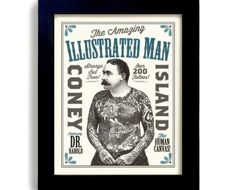 Tattoo Man Bar Art Tattoo Design Illustrated Ink Design Sideshow Art Circus Poster Tattoo Parlor Vintage Style Rockabilly