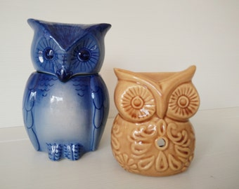 two ceramic owls,  pottery owl, owl figurine, incense burner, blue and brown ceramic owls
