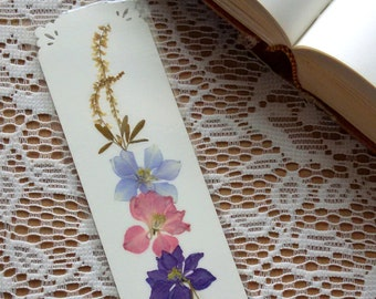 PRESSED FLOWER BOOKMARK - Preserved Natural Garden Flowers, Reader, Book Lover, Teacher, Student Gift, Pink, Lavender, Blue Larkspur