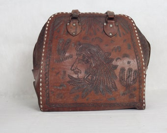 Gorgeous Vintage Leather Hand Tooled Bowling Bag, Native Americana, Leather Bag, Bowling Bag