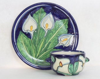 Chip and Dip Set Vintage Mexican Pottery Calla Lily Indigo Blue