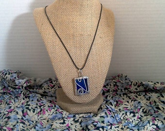 Blue Heart Stained Glass Necklace