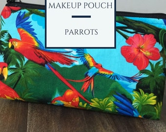 Zippered makeup pouch or diabetic supply bag in a tropical parrot fabric
