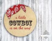 """Envelope Seals or Favor Stickers - 2"""" Round Sticker - Western Cowboy"""