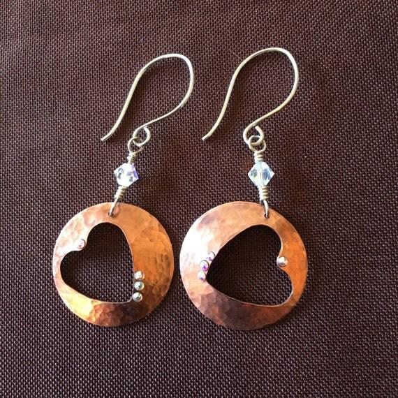Copper Heart Hoops Handcut Hand Domed Sterling Handmade Ear Wires Swarovski Crystals