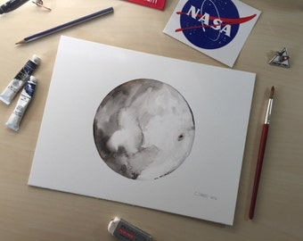 Moon 1 - 9x12 Watercolor Original Painting on ArtBoard - NASA - Moon Art - Original Painting - Space - Handmade Art - Gift for Him