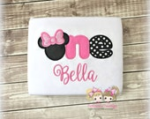 First Birthday Minnie ONE Birthday Shirt- TWO, FOUR, Custom Birthday Shirt with Mouse Ears