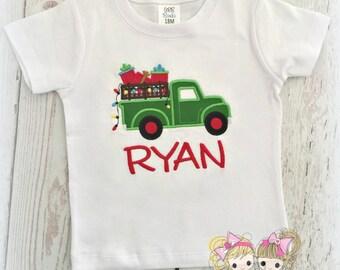 Boys Christmas Truck with presents Shirt- Old Fashioned Truck- Custom Christmas Shirt