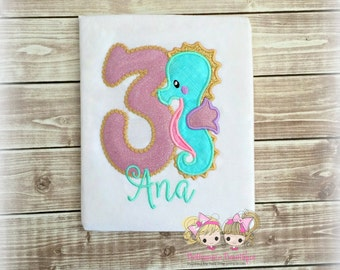 Seahorse birthday shirt - summer themed birthday shirt- 1st birthday shirt - personalized sea horse shirt - girls birthday shirt