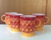 Anchor Hocking Fire King Orange Ombre Kimberly Retro Diamond Pattern Set of Four Coffee Mugs Kitchen Coffee Cups Cottage Chic