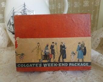 Vintage Colgate Travel Package -- Original Contents Included -- Cashmere Bouquet Talc -- Colgate Creams