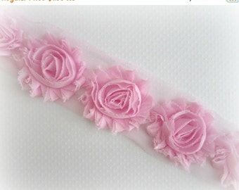 ON SALE PINK Shabby Flower Trim -- 1/2 Yd, 7 flowers